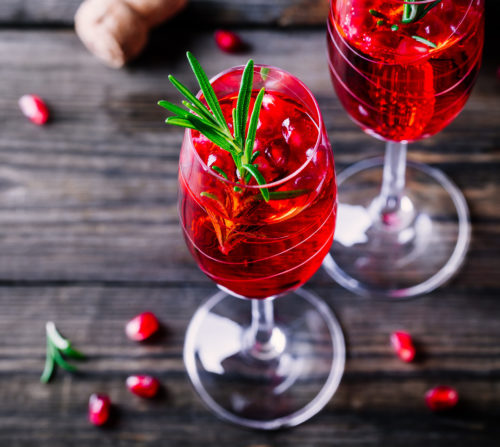 Pomegranate Royale Champagne Cocktail
